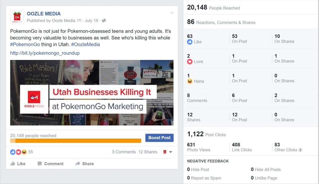 Pokemon Go for Utah Businesses Facebook Stats