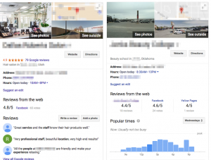 Side by side comparison of knowledge panels on Google's results page