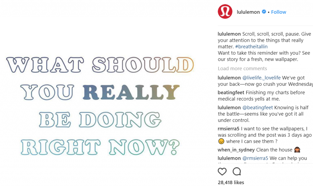 Lululemon Instagram post what should you really be doing right now?