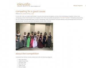 Screenshot from a blog about ESI Chubbuck's competition for charity.