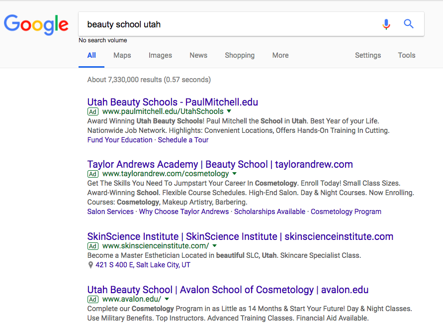 ppc ads for beauty school in google serp