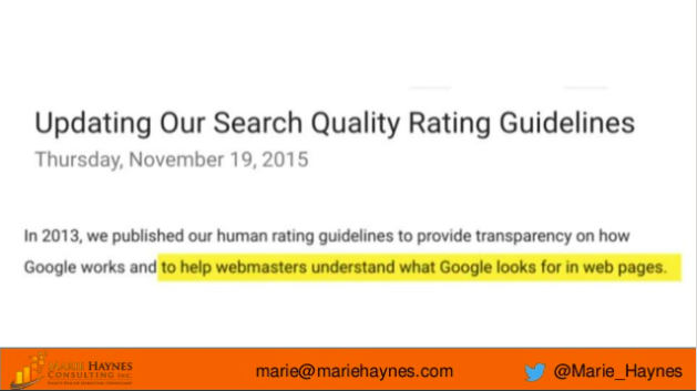 google's quality rating guidelines