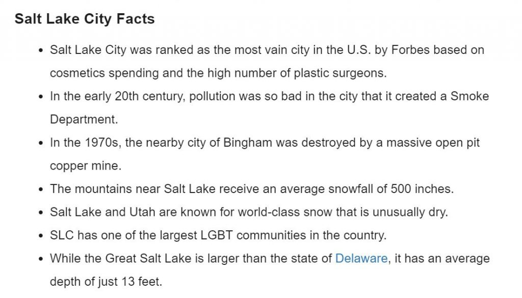 Screenshot of World Population Review with facts about Salt Lake City.