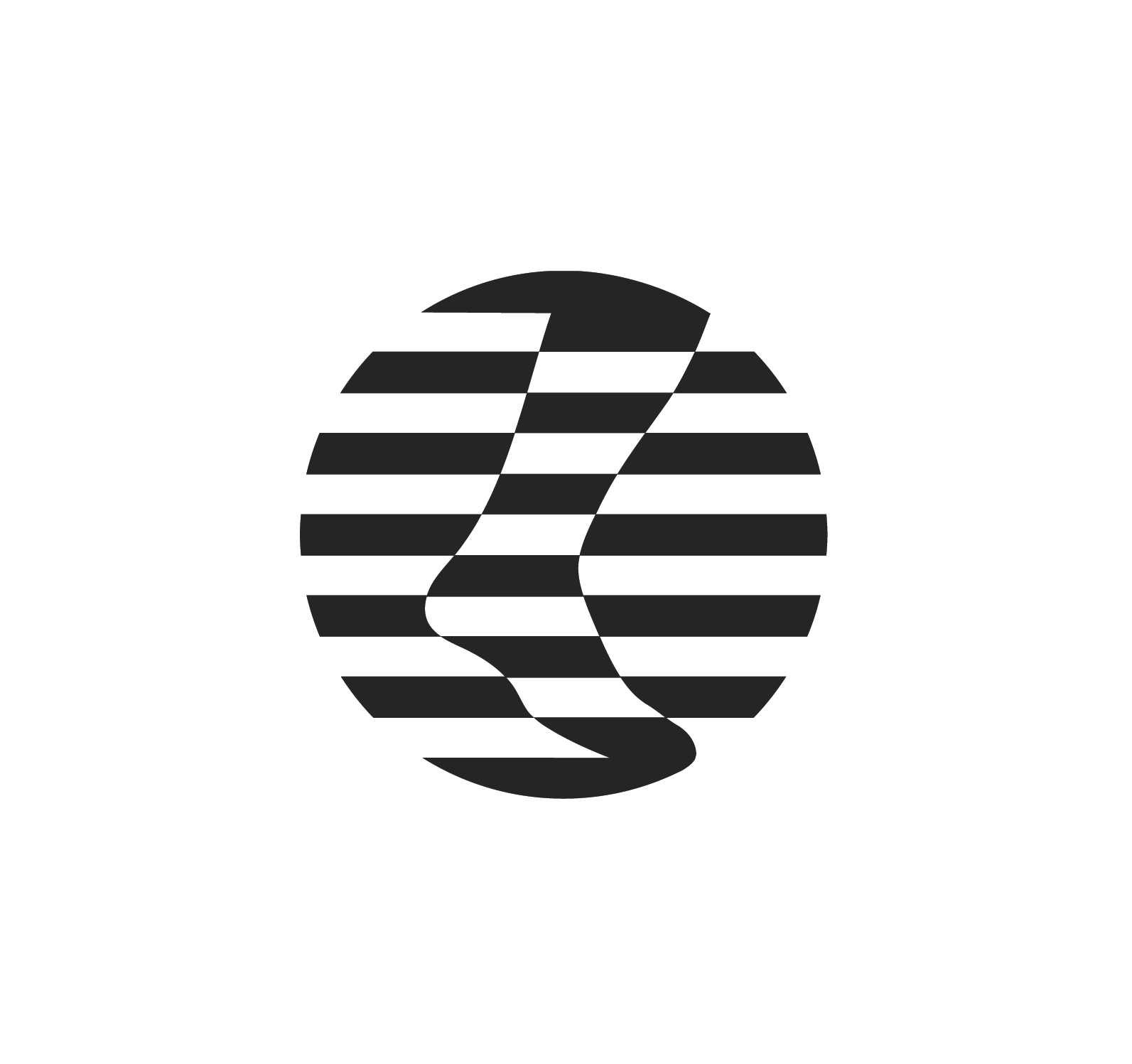 round striped logo featuring a foot in motion