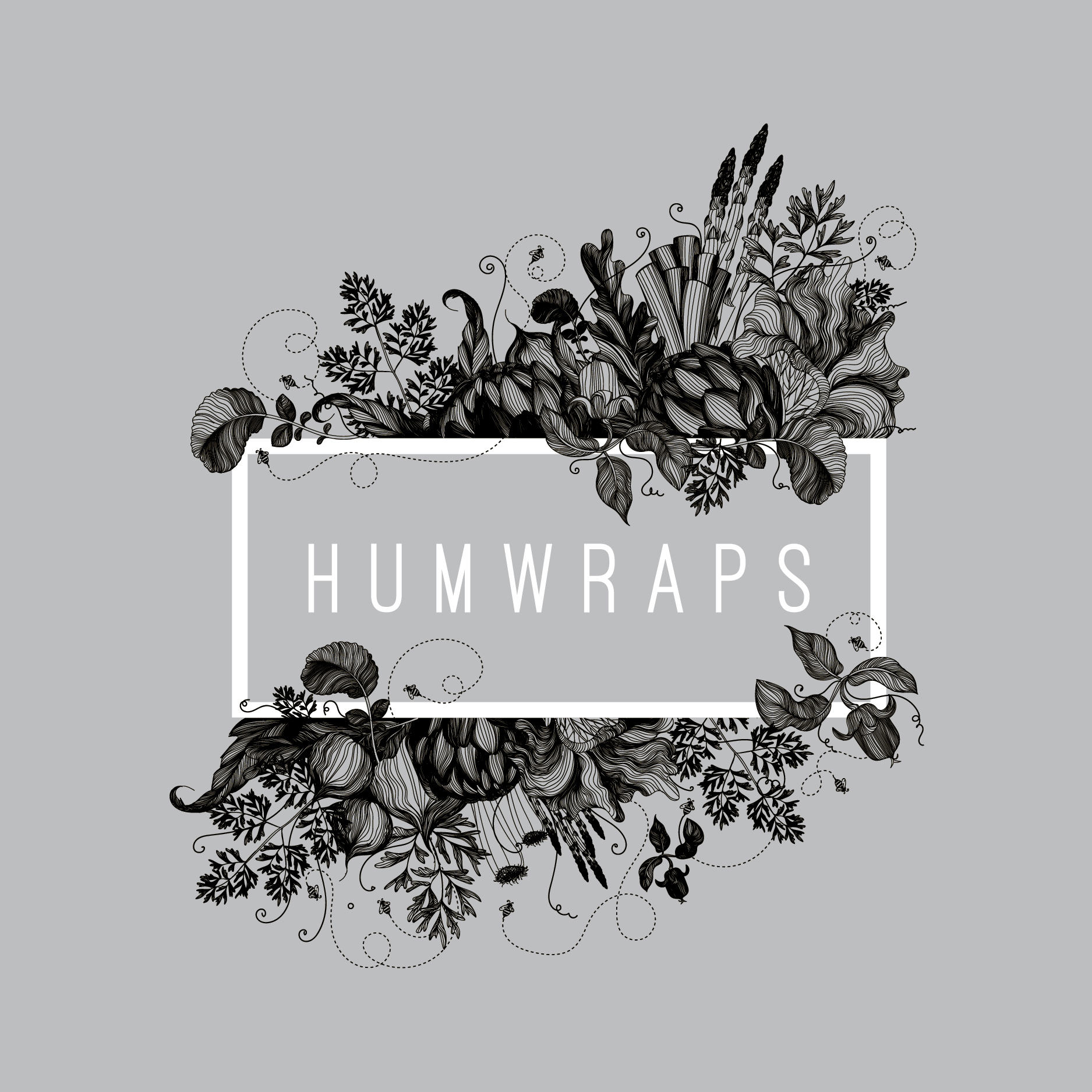 "rectangle logo with the text ""Humwraps"" surrounded by highly detailed flora"