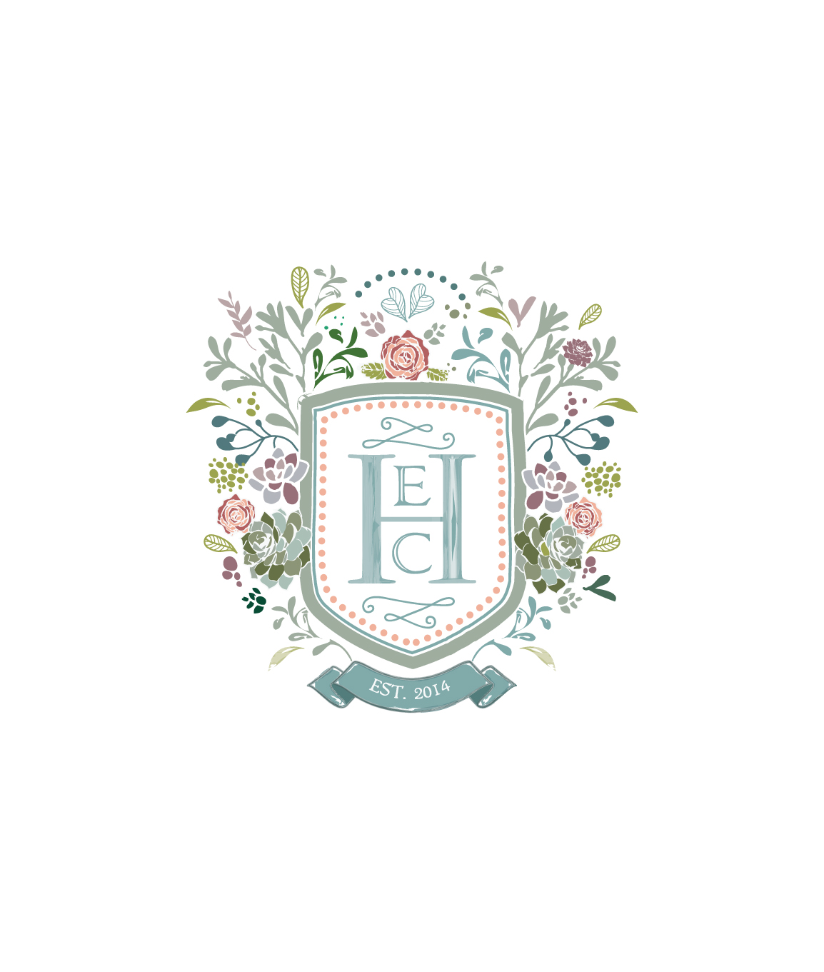 pastel-colored crest featuring the letters E, C and H