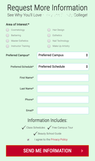 example of an optimized form. there are a few, specific fields and a red button to submit information that says send me info