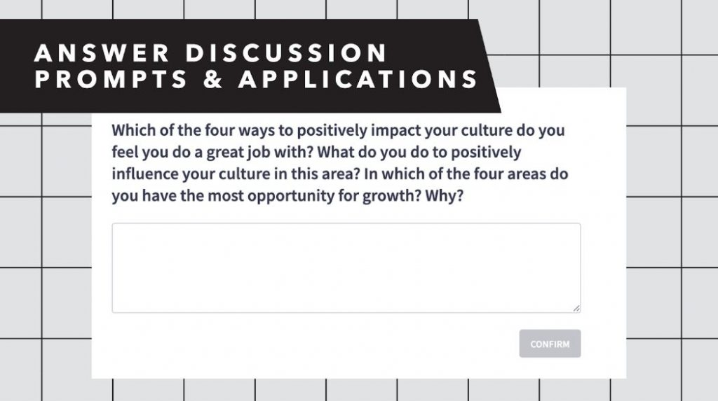 Screenshot of discussion prompt.