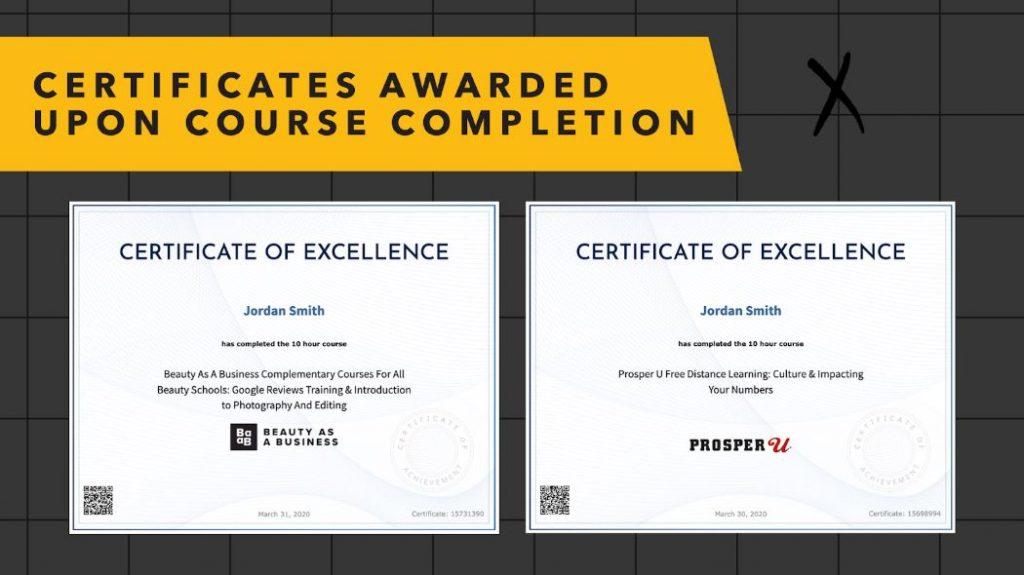 Screenshot of certificates beauty school students get.