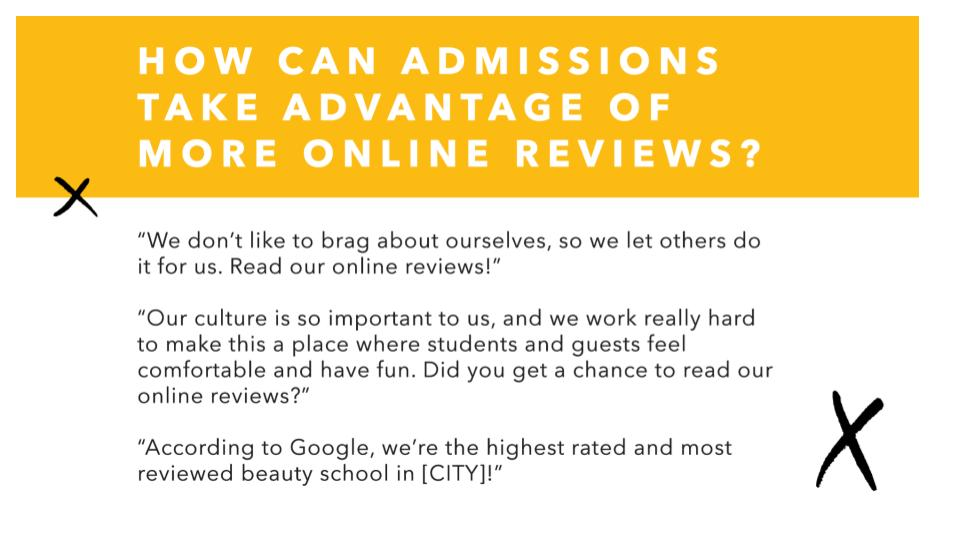 How admissions can take advantage of reviews