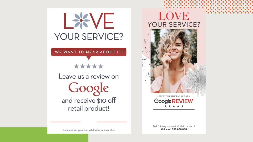 "Example of a ""leave a review"" graphic"