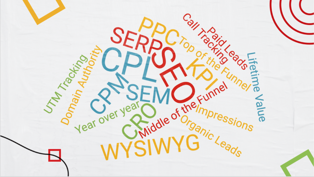 a pile of marketing acronyms and terms