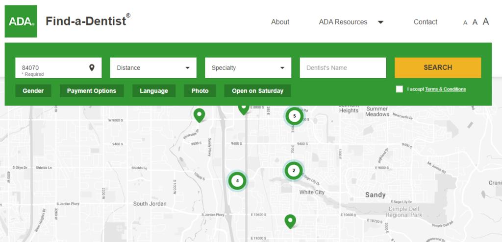 Screenshot of ADA's Find a Dentist tool