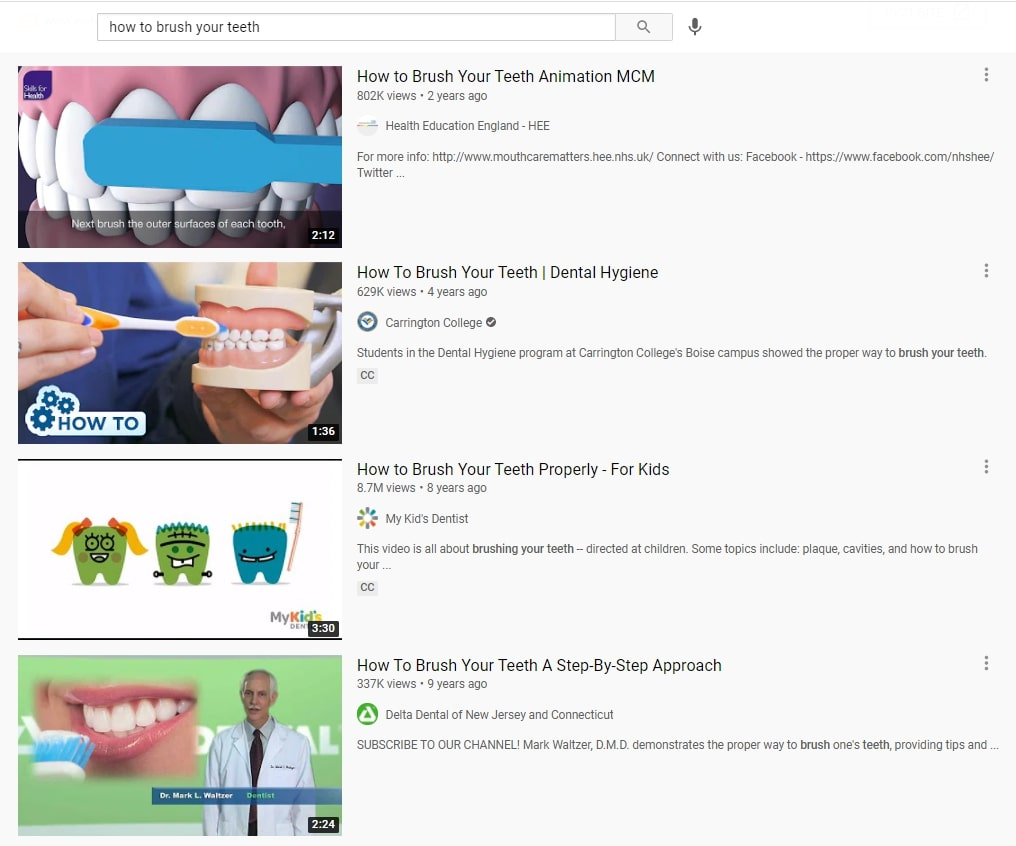 How to brush your teeth search result on YouTube.