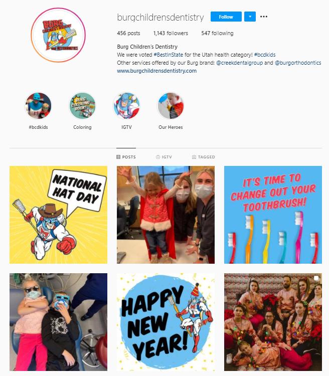Screenshot of Burg Children's Dentistry Instagram.