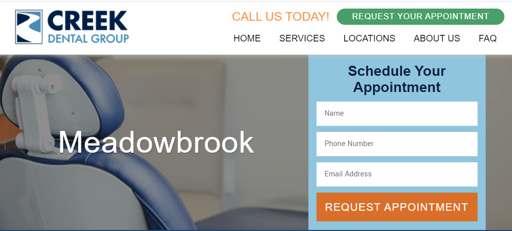 Creek Dental Group website screenshot