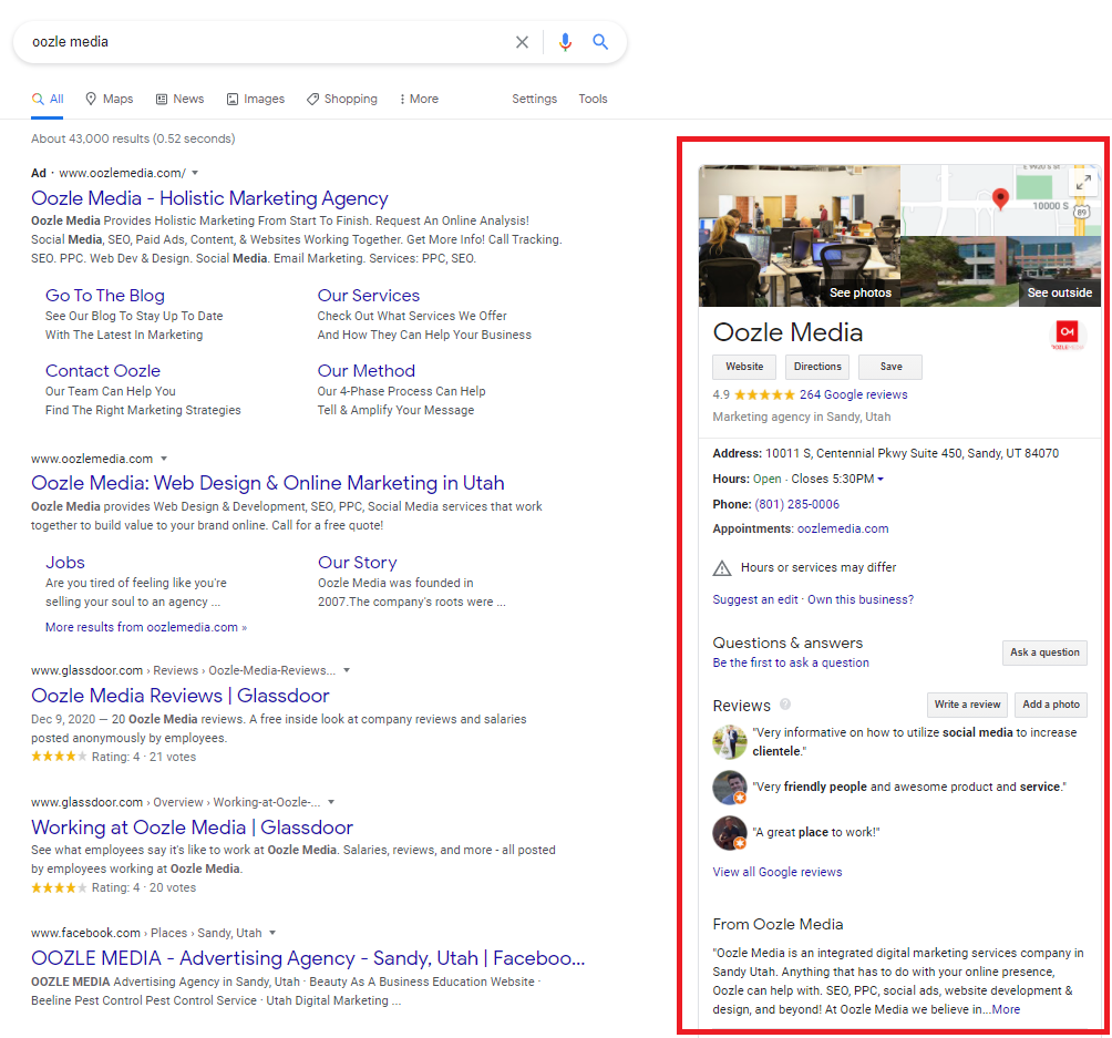 A Google SERP with the Google My Business panel highlighted