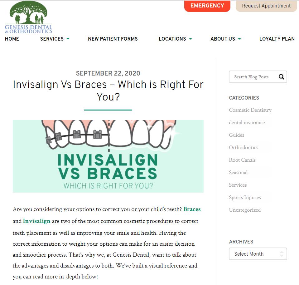 Screenshot of a dental blog.