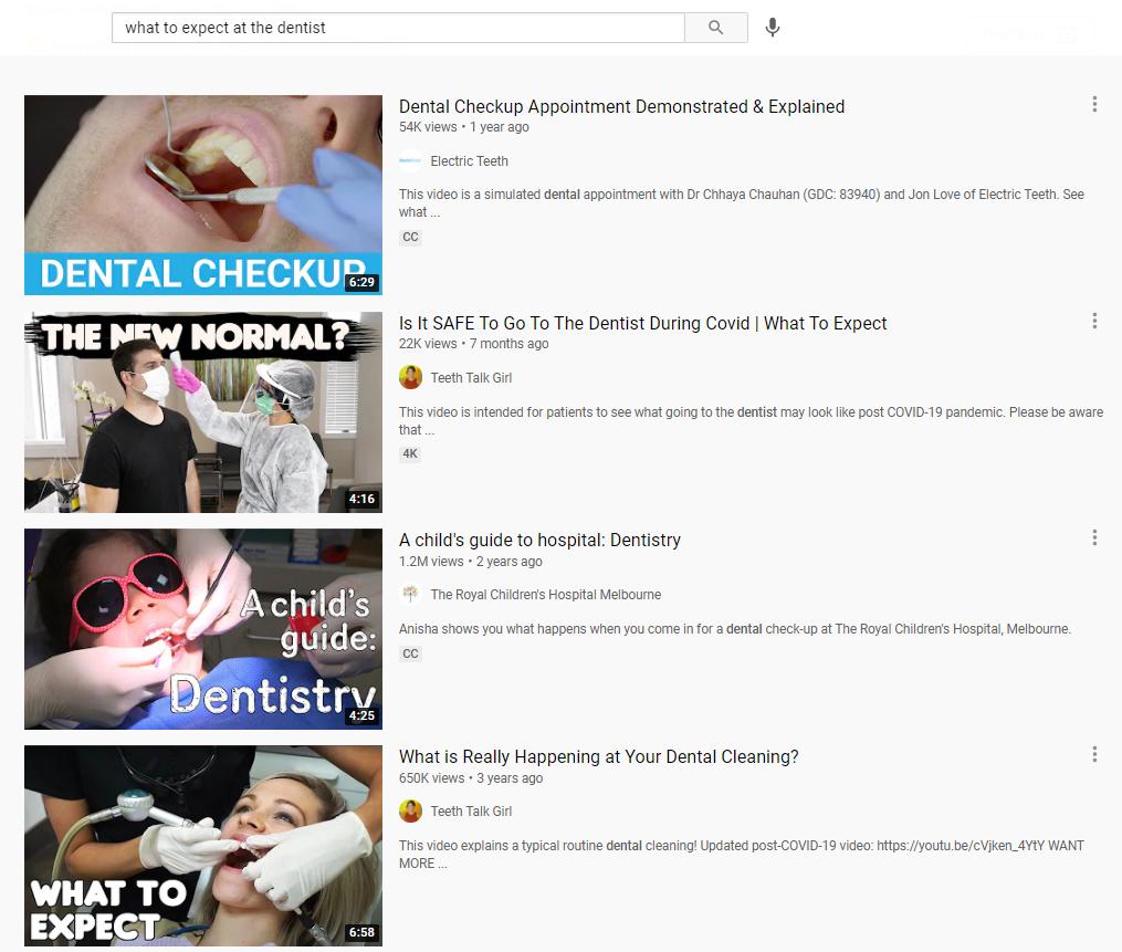 Screenshot of dental videos on YouTube