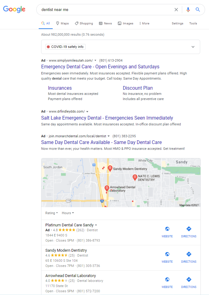 """Search engine results page for """"Dentist Near Me"""""""
