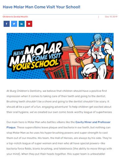 Molar Man blog on Burg Children's Dentistry's site.