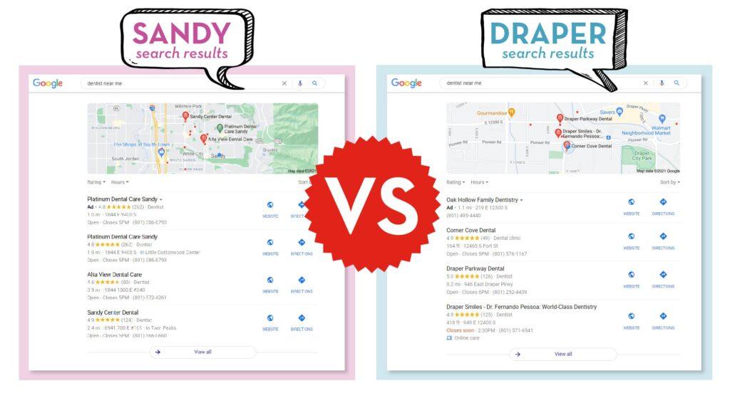 Sandy search results vs. Draper search results