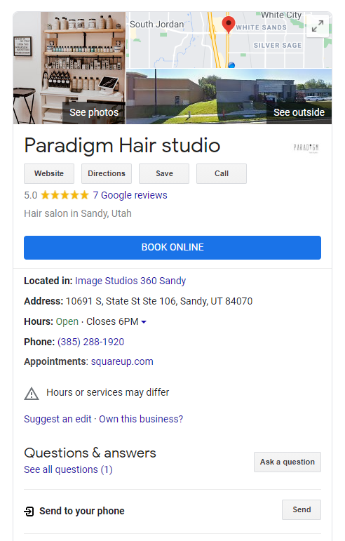 """Example of a Google My Business profile with """"Book Online"""" button."""