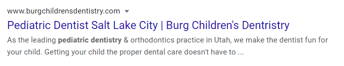 Search result for a dental query.