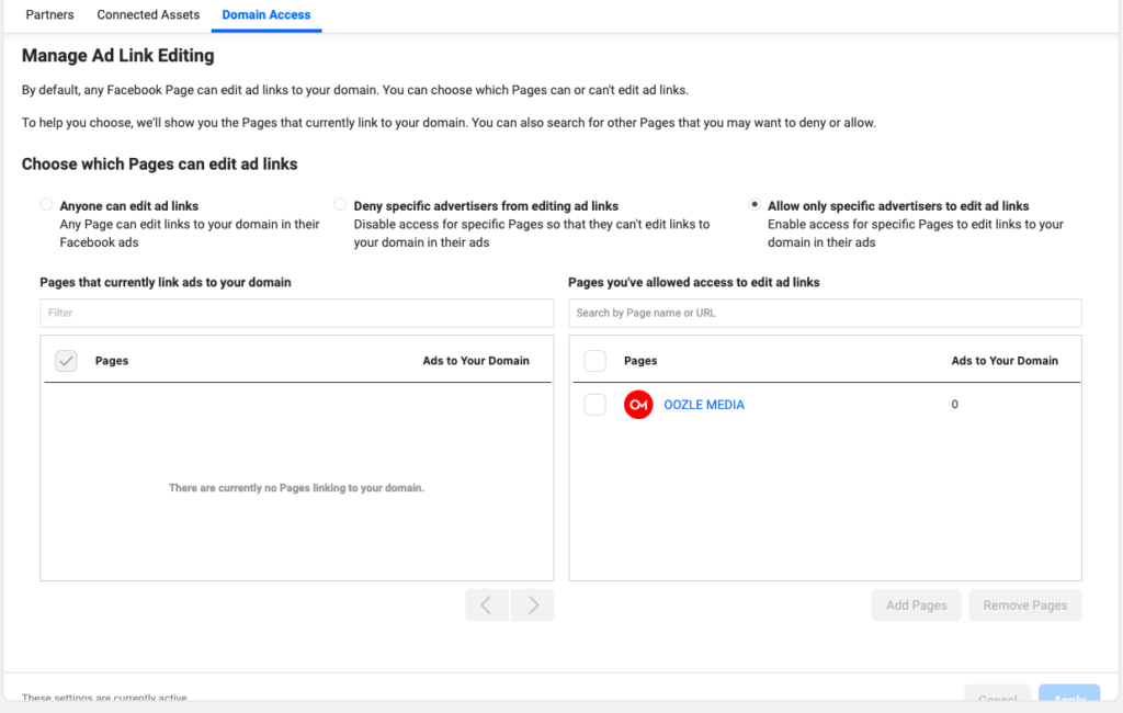 image of the ad link editing screen in Facebook's Business Manager