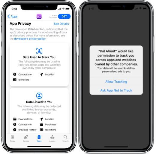 image of the new data policy and in-app prompt around data tracking for iOS 14.5