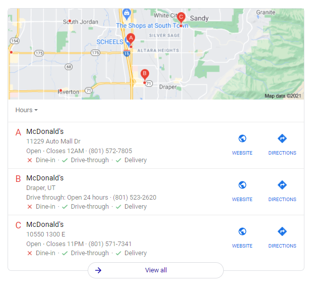 Example of a SERP for McDonalds