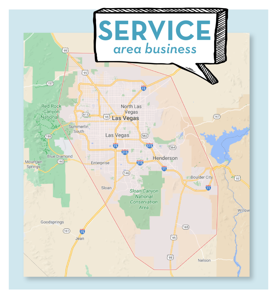 Example of a service area for a business