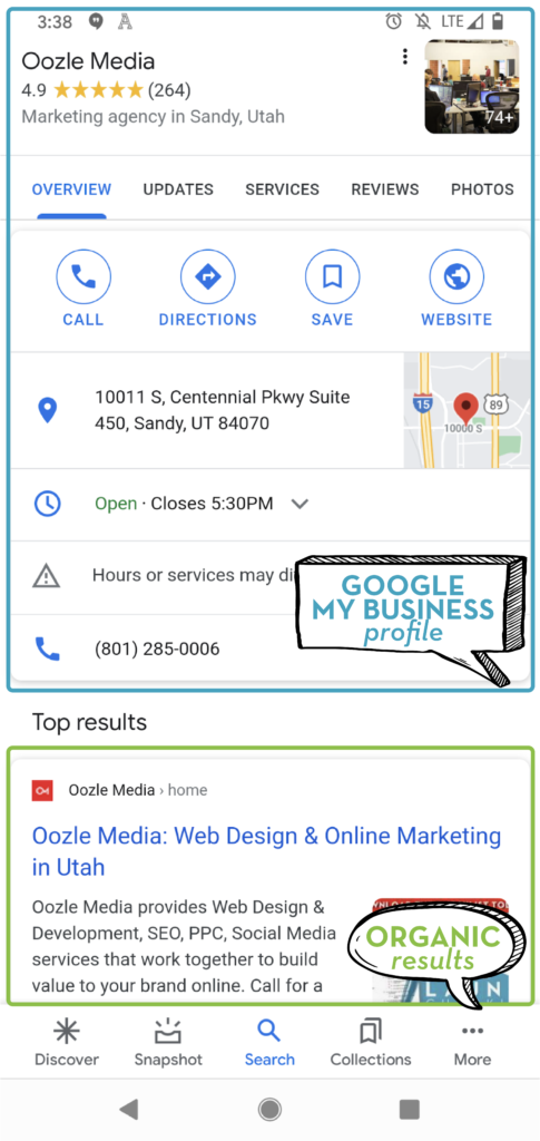 Example of a listing on mobile