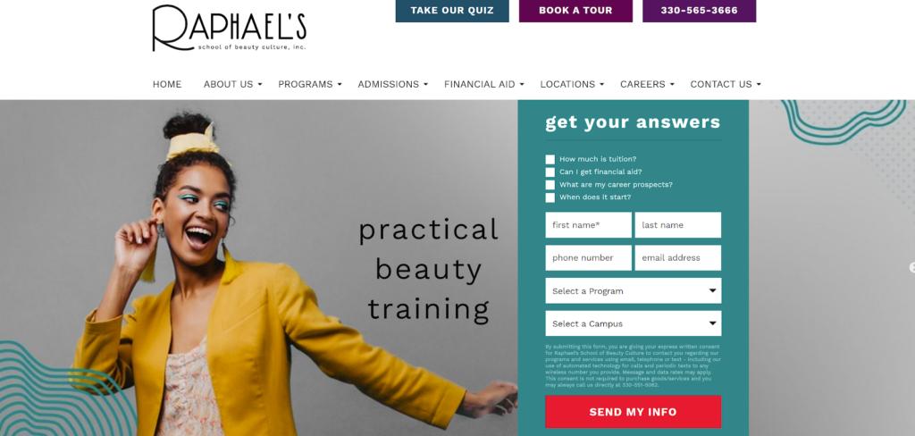 Screenshot of Raphael's website