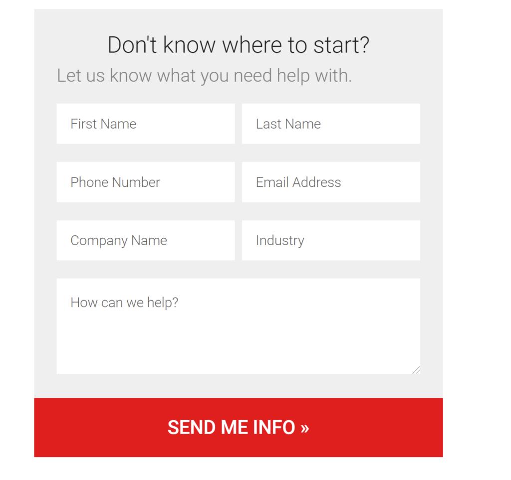Screenshot of a form