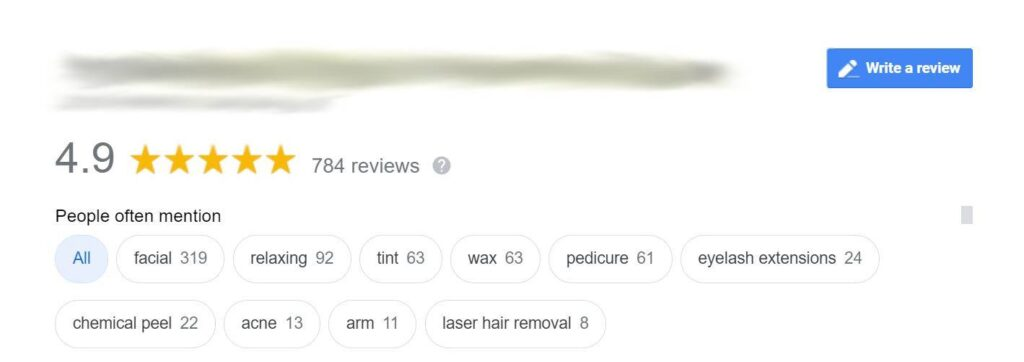 """Screenshot of the """"People mention"""" box in Google reviews"""