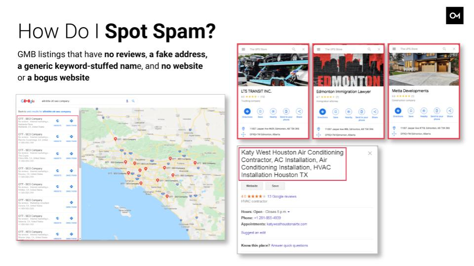 Example of spam listings